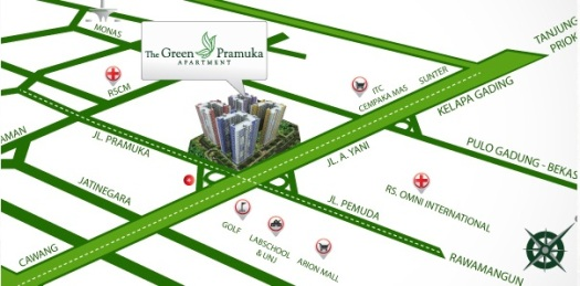 The Green Pramuka City Peta lokasi